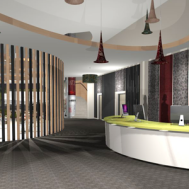 Reception, cafe and children's area beyond